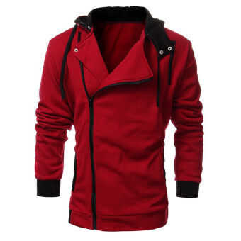 Harga Large size mens sprots sweater jacket hoodie zipper Sweatshirts wine red