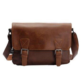 Harga 360WISH Three-box Fashion Business Men PU Leather Flap-Over Cross Body Bag Messenger Shoulder Bag - Light Coffee