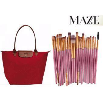 Harga [1+1] MAZE European Stylish Large Long Handle Handbag Champ Style + 20 Pcs Complete Set Make Up Brush