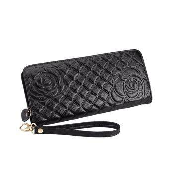 Harga REALER women genuine leather wallets Cell phone Card Holder Long Lady Wallet Purse Clutch High Quality Women wallets(black)