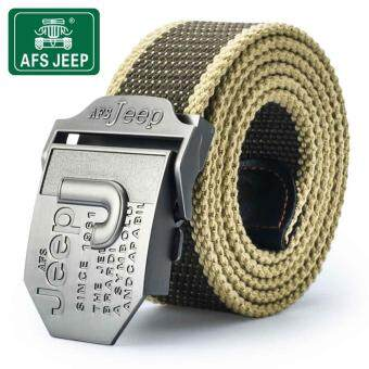 Harga AFS JEEP men's fashion casual canvas belt buckle automatic belt thickening outdoor uniform extension