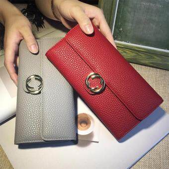 Harga Long Lady Wallet Purse Leather Women Wallets Brand Design High Quality Long Lady Wallet Purse Clutch Red