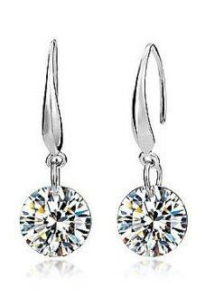 Harga Vivere Rosse Classic Solitaire Platinum Plated Drop Earrings 2ct. - 18K White Gold Plated