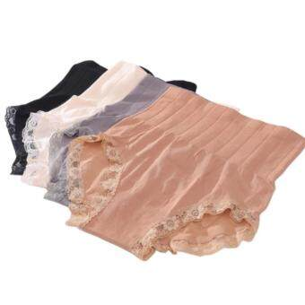 Harga Set of 4 Japan MUNAFIE Premium High Waist slimming Shaping Panties - 1 Black, 1 Light Beige,1 Grey,1 Nude