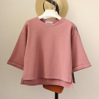 Harga Maire Quinn Korean Loose-sleeved Round Neck Short-sleeved Pastel Color Top_pink