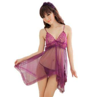 Harga Loveena Fancy Lace Babydoll Lingerie Nightwear (Purple)
