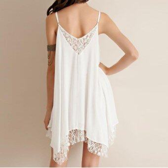 Harga Gracefulvara Women Summer Sexy Sleeveless Chiffon Evening Party Cocktail Short Mini Dress Beach Dress (White)