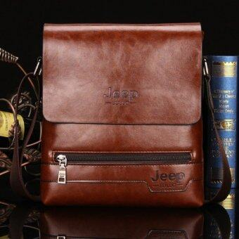 Harga Jeep Cowhide Leather Crossbody Bag Shoulder Bag Men Tote Bag Business Casual Messenger Bag (Small Size / Coffee)