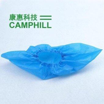 Harga Disposable CPE Cleaning Double Elastic Plastic Shoe Cover 3.3G Blue 200 Pieces