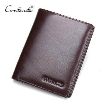 Harga SNG Premium Quality Male Wallets Series-CONTACT'S 2017 New Italian Leather Men Wallets High Quality Fashion Genuine Leather Purses Trifold Wallet With Photo/Card Holder (Brown)