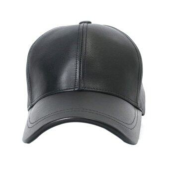 Harga Gracefulvara Men Women Unisex Adjustable Sport Leather Golf Baseball Cap Hat (Black)