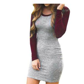 Harga Gracefulvara Kissky Women's Color Block Long Sleeve Bodycon Tshirt Dress - Red
