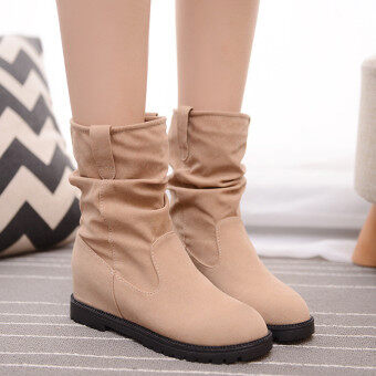 Harga New Women Winter Increased Mid-calf Knight Suede Martin Boots Middle Tube Shoes Beige