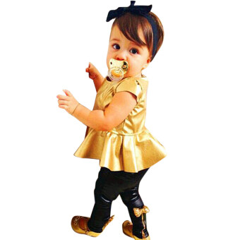 Harga BEINGQ New Baby Girls Kids Shirt Dress + Legging Pants Casual Clothes Sets Outfits 2Pcs