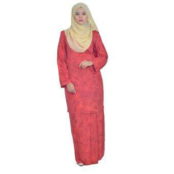 Harga Cotton & Silk - Baju Kurung Modern - 7551 - French Crepe Plain Printed - Kurung Modern Sunshine - A3(Red)
