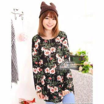 Harga LuvClo (Fit M~3XL) Country Style Daisy Printed Long Sleeves Loose Top (Black)
