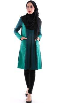 Harga JF Fashion Ammara Color Block Blouse M380 (Emerald-Green)