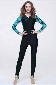 Harga One-piece Women's swimming suit Floatsuit Diving suit SURFING SUIT Wetsuit bathing suit Equipment Long sleeve Swimsuits (Black and Blue)