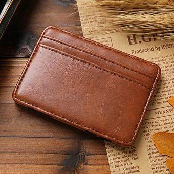 Harga Broadfashion Business Men's Faux Leather Money Clip Card Holder Slim Bifold Magic Wallet Brown (Light Brown)