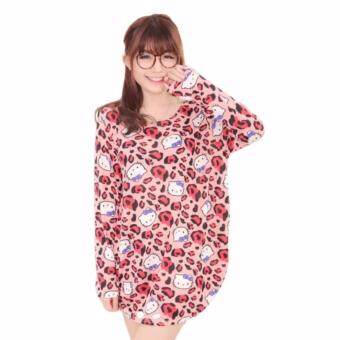 Harga LuvClo (M~3XL) Japanese Style Leopard Printed Long Sleeves Loose Top (Pink)