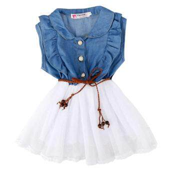 Harga MG Baby Kids Children Fancy Dress Denim Jeans Dress (White)