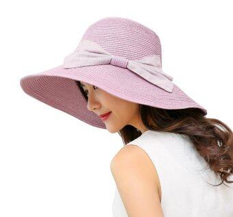 Harga Bigood Women's Summer Large Wide Brim Straw Beach Sun Hat Bow Floppy Cap Purple