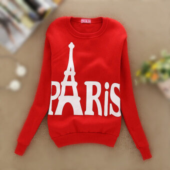 Harga Lady Paris Eiffel Shaped Fashion Hooded Thin Long-sleeved Sweaters(Color:Red)
