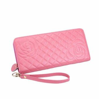 Harga REALER women genuine leather wallets Cell phone Card Holder Long Lady Wallet Purse Clutch High Quality Women wallets(pink)