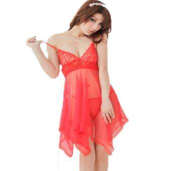 Harga Loveena Fancy Lace Babydoll Lingerie Nightwear (Red)