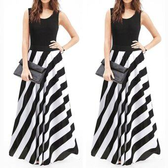 Harga Gracefulvara Women Ladies Fashion Sleeveless Summer Holiday Long Maxi Striped Dress Evening Party Long Skirt