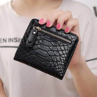 Harga Hot Sale Women's Mini Short Wallets PU Serpentine Leather Women Wallet Purses (Black)