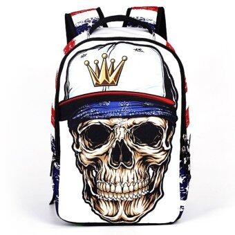 Harga 2016 NEW Unisex Women Fashion Men Bookbag Middle School Youth Skull Bag Trend Backpack Bags