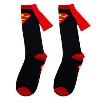 Harga 1 pair socks men Cotton Superman+Batman Long Superhero Socks with Cloak Socks Black Superman