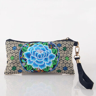 Harga Chinese National Style Floral Handbag Women Retro Embroidery Peony Clutch Bag Wristlets Coin Purses Blue