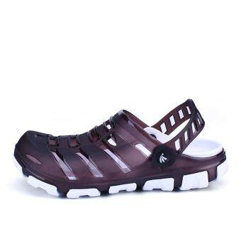 Harga Men's Sandals Summer New Men Breathable Beach Shoes Hole shoes Trend of leisure style (purple)