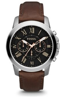 Harga Fossil FS4813 Grant Chronograph Leather Watch (Brown)