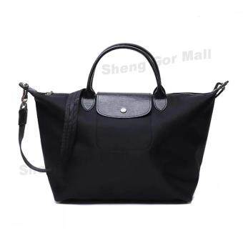 Harga Paris Long Shoulder Strap Nylon Sling Handbag Black(Large Size)
