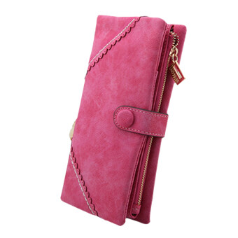 Harga Sanwood Women Leather Wallet Bifold Button Clutch Purse Lady Long Handbag Wallets(Rose Red)
