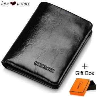 Harga Loveu Luxury Black Leather Wallet Mens Wallet Best Valentine Lover Gift Birthday Gift Trifold Soft Cow Leather Wallets ID Credit Card Holder Clutch Zipper Coin Purse Wallet