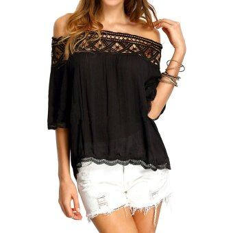 Harga Gracefulvara Chiffon Women Sexy Off Shoulder Casual Short Sleeve Lace Slim T-Shirt Top Blouse-Black
