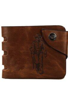 Harga Vintage Men Faux Leather Three-fold Card Purse (Brown)
