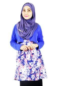 Harga Aqeela Muslimah Wear Vest Blue Abstract Top