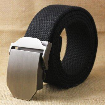 Harga Gracefulvara Outdoor Fashion Men&Women Casual Belt Canvas Waist Belt-Black