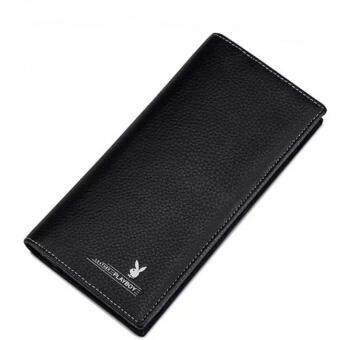 Harga New Playboy Men Leather Wallet Horizontal Bifold Playboy Genuine Men Wallets Free Gift Box (Black)