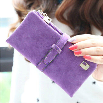 Harga 2016 Lady Women Wallets Drawstring Handbags Leather Zipper Wallet Purse Fold Clutch Card Holder(Purple)