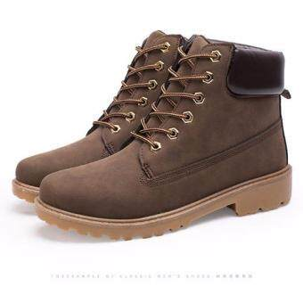 Harga Max Collection Fashion Genuine Leather Dr Martin Boots Warm Fur High Top Casual Martin Shoes Men Boots Ankle Motorcycle Boots (Brown)