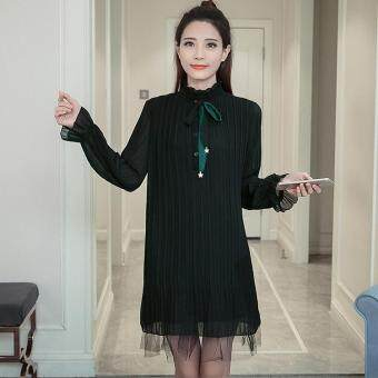 Harga The new fashion trend of the Korean dress lace collar sleeve code