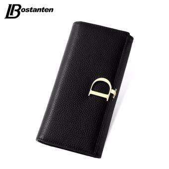 Harga BOSTANTEN 2016 Genuine Leather Women Wallets Luxury Famous Brand Wallets for Women Coin Purses Holders Ladies Wallet Long Purses