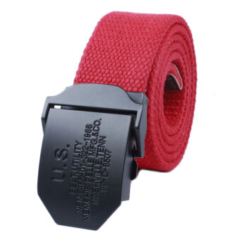 Harga Men's Fashion Casual Canvas Belt(Red)