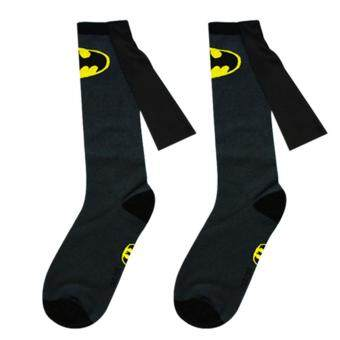 Harga 1 pair socks men Cotton Superman+Batman Long Superhero Socks with Cloak Socks Grey Batman